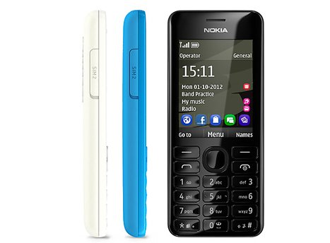 Nokia 206 Mobile Phone Front + Side