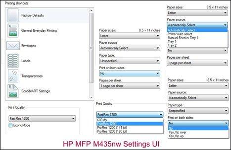 HP LaserJet Pro print settings